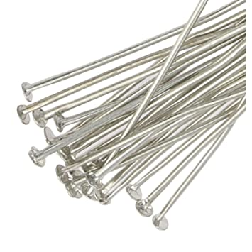 Beaddelighted 250 Silver Plated Flat Headpins 40mm Metal Jewellery