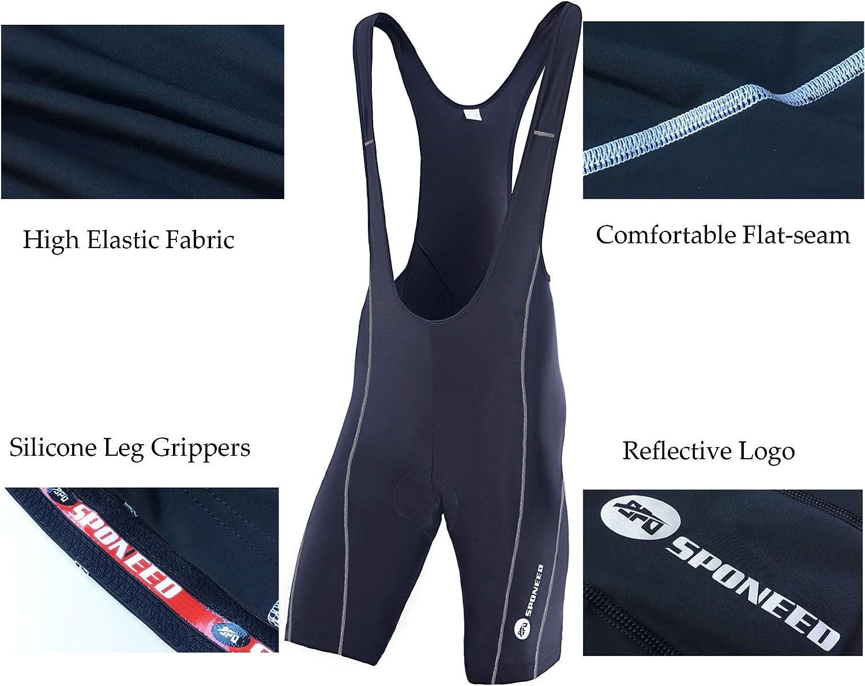 sponeed Cycling Bib Shorts Men Biker Bibs for Men Padded Breathable Racing Shorts UPF 50+