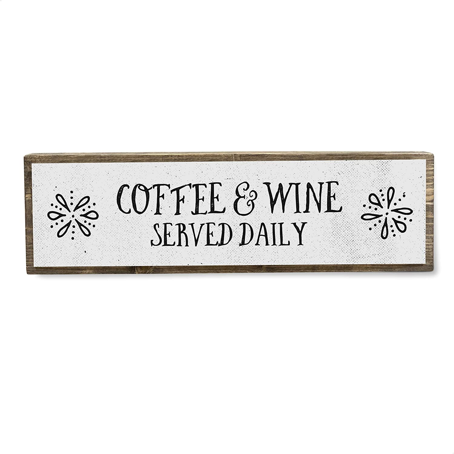 Coffee and Wine Served Daily - Handmade Metal Wood Coffee Sign – Cute Rustic Wall Decor Art - Farmhouse Decorations – Coffee Signs for Home Decor