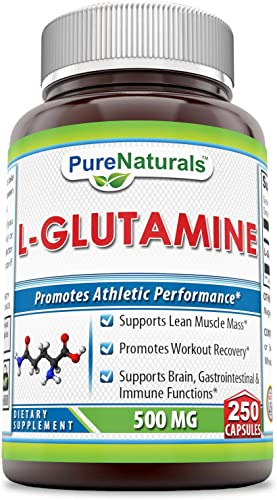 Pure Naturals L-Glutamine 500 Mg, 250 Capsules -Supports Lean Muscle Mass, Brain Immune Functions*