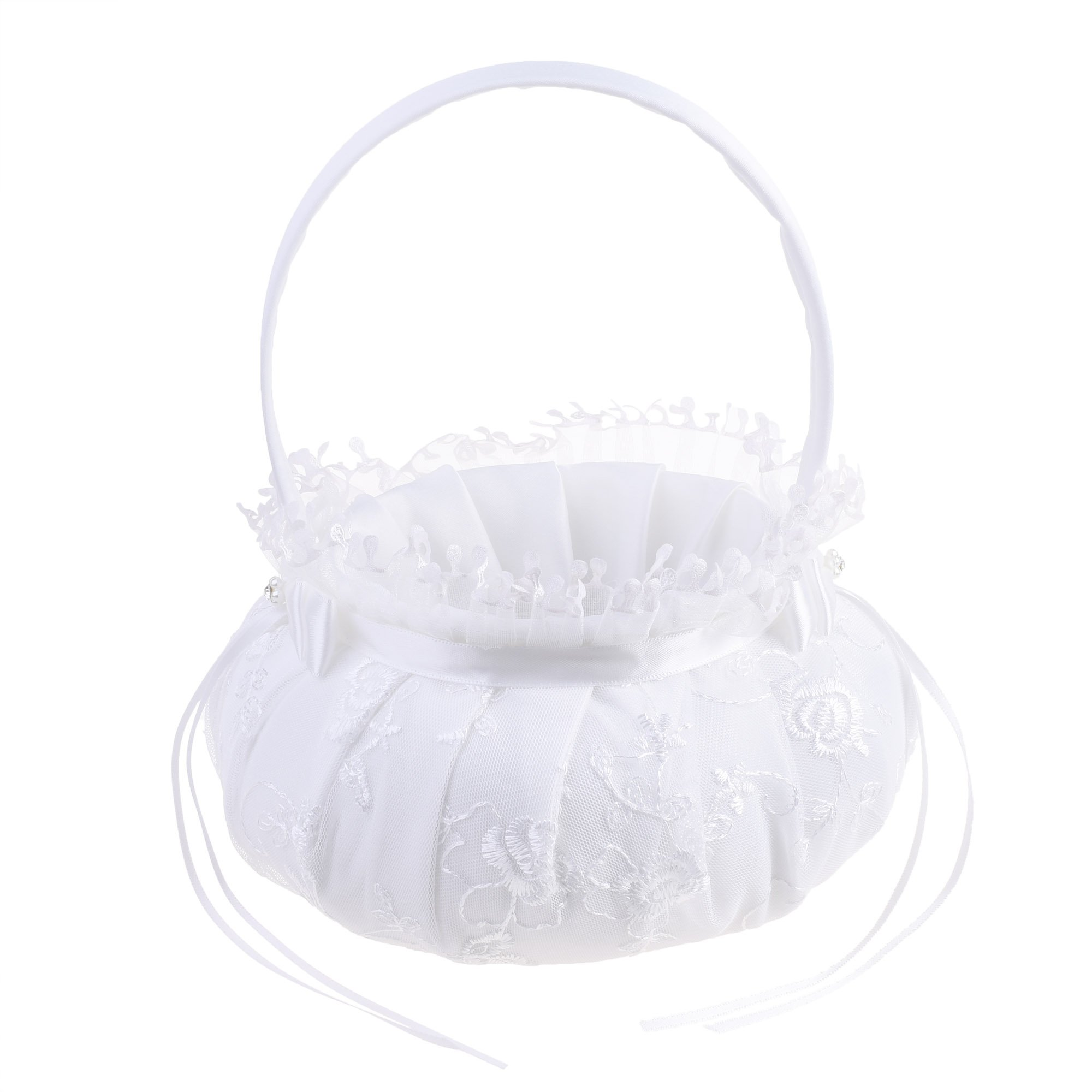 Kloud City Mesh Embroidered Flower Lace Edge Satin Bowknot Ribbon Bead Flower Girl Basket for Wedding Ceremony Party Favors