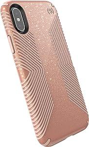 Speck Products Presidio Grip + Glitter iPhone Xs/iPhone X Case, Bella Pink with Gold Glitter/Dahlia Peach