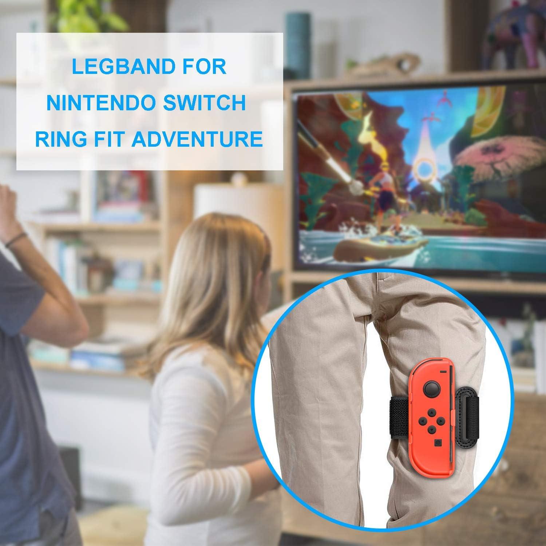Correa deportiva para Nintendo Switch Ring Fit Adventure and Just Dance Joy-Cons Controller Game Accessories Kit, ajustable elástico pierna correa y bandas de muñeca para interruptor Joy-Cons controlador: Amazon.es: Videojuegos