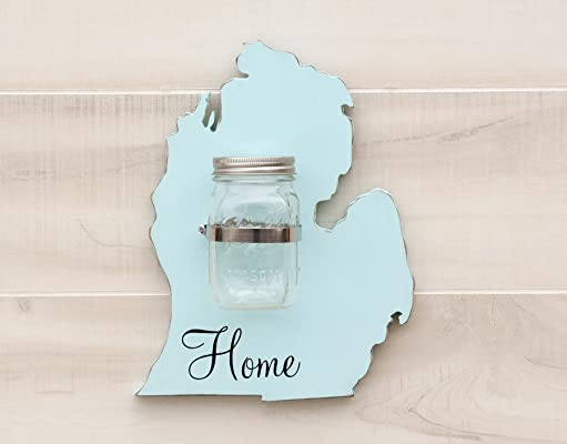 Michigan State Map Shape Mason Jar Wall Vase or Sconce. Additional States L-N available. 20 Paint Colors. Solid ¾