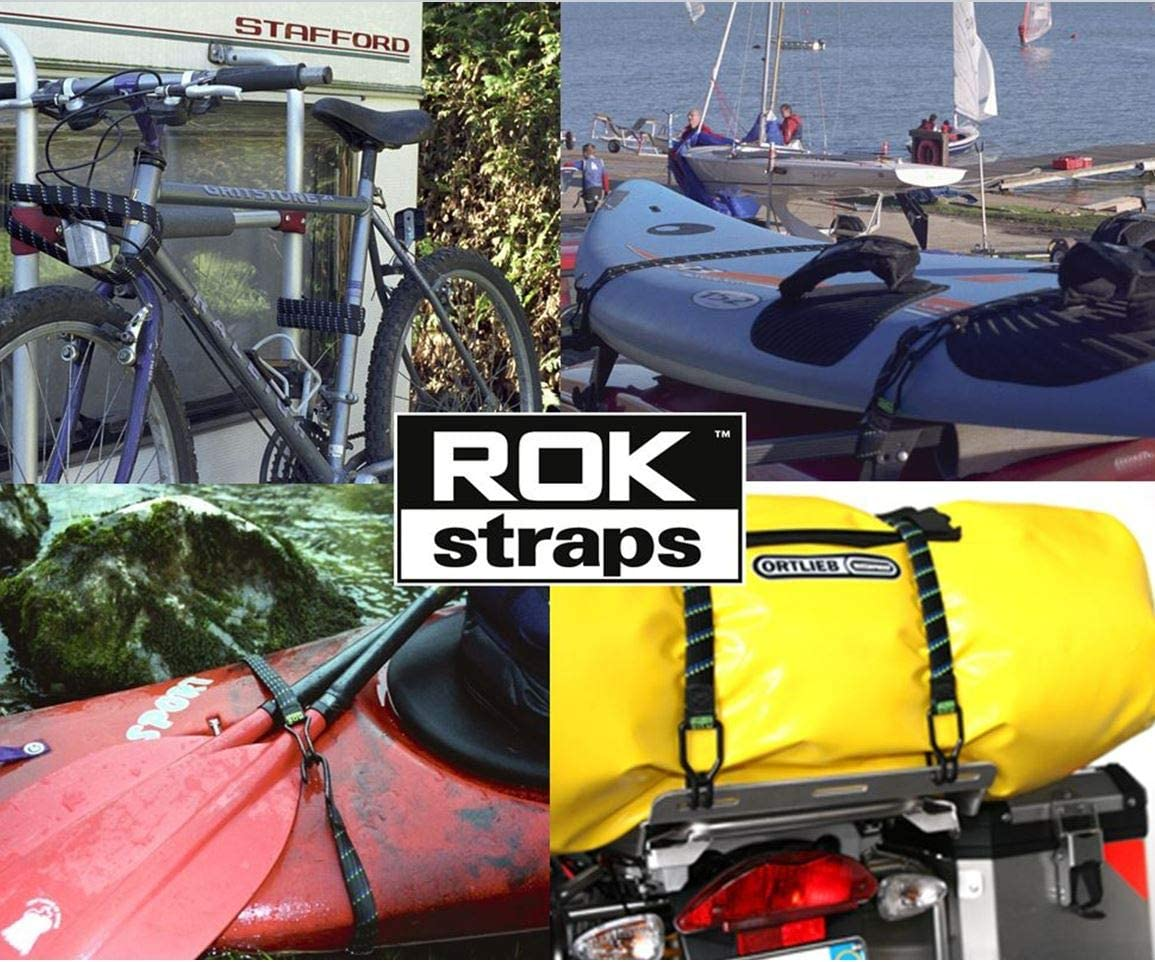 ROK-150025A Black 1500mm x 25mm Flat Cargo Adjustable Strap ROK All Purpose Heavy Duty Bungee Straps with Hooks PACK of 5