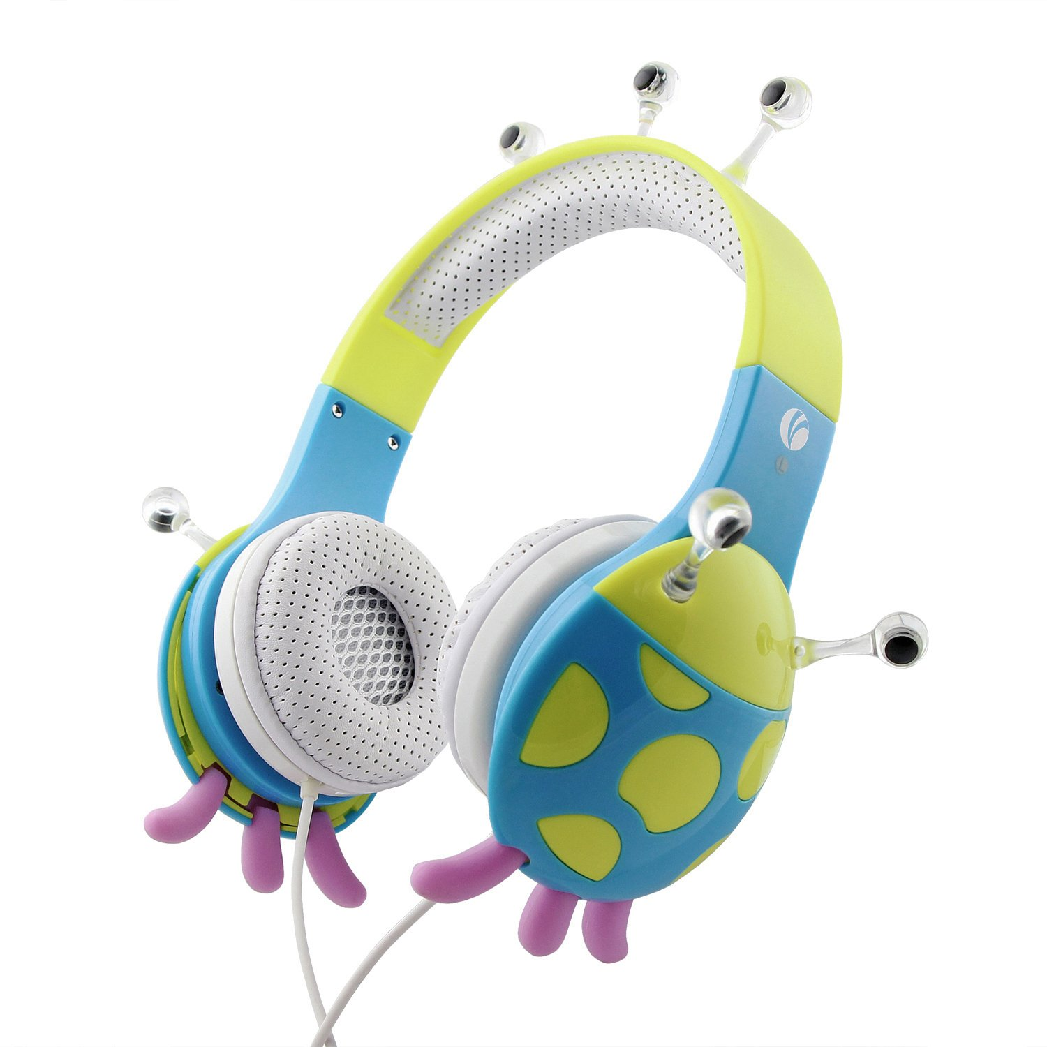 VCOM Kids Headphones, Wired Over Ear Earphones Volume Limiting Headset by Ladybug Design with 3.5mm Jack for iPad iPhone Smartphones Tablet PC Kindle - Blue/Green