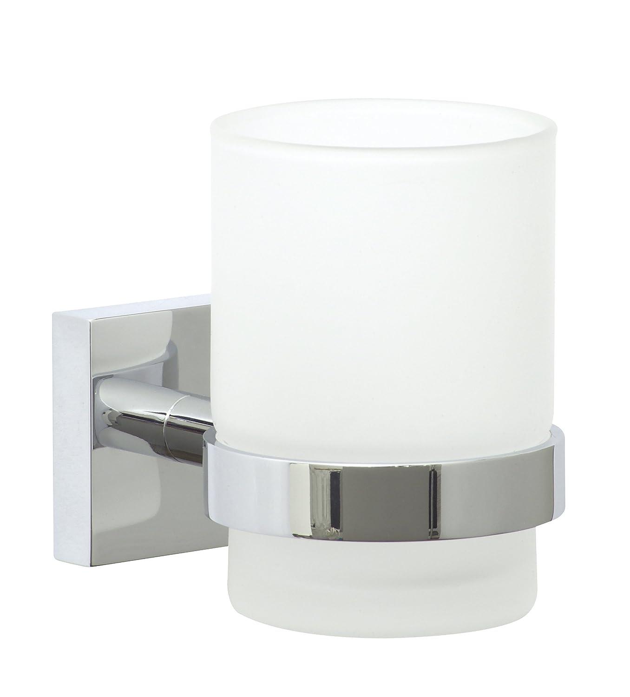 nie wieder bohren EK145 Ekkro - Supporto cromato per bicchiere, 6,7 x 11 x 9,5 cm, accessori per fissaggio senza trapano inclusi Nie wieder bohren AG