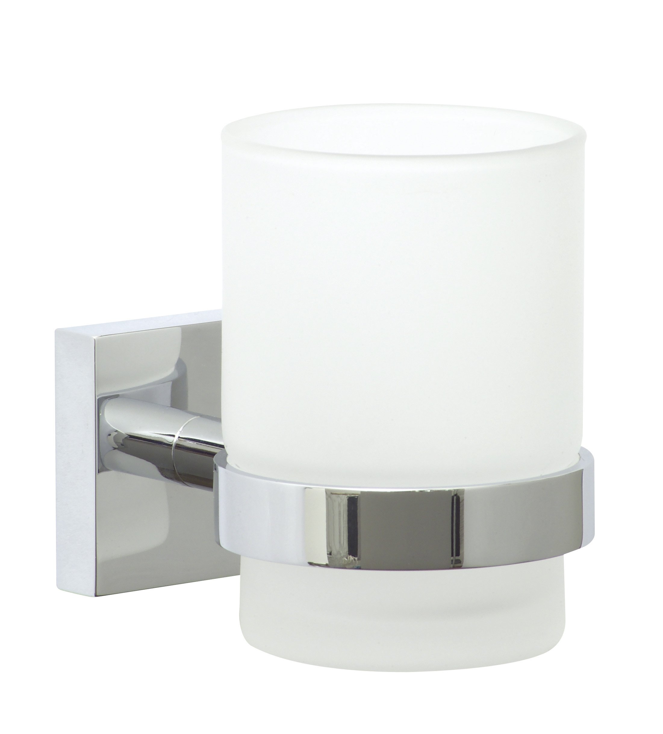 nie wieder bohren Ekkro EK145 Toothbrush Glass Holder 6.7 x 11 x 9.5 cm Chromed with Mounting Technology by nie wieder bohren