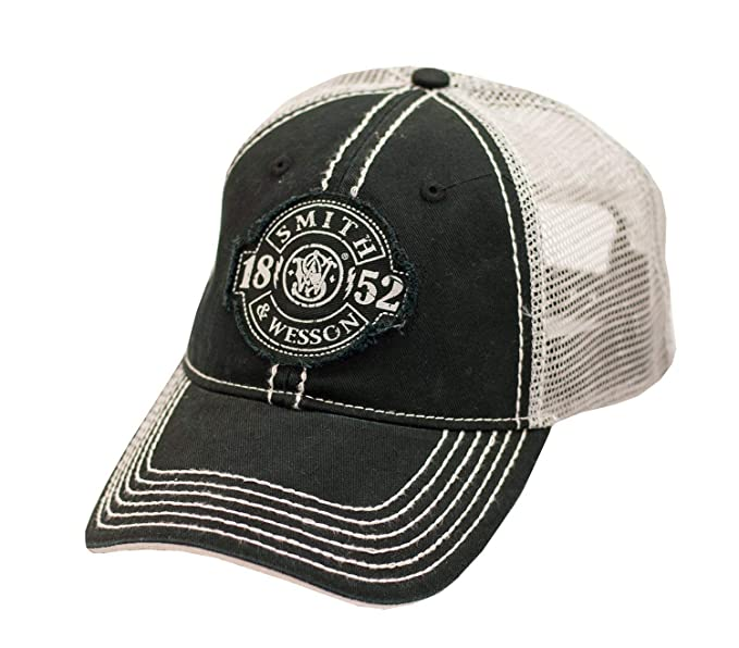 af6d8496f37c0 S W Distressed 1852 Patch Logo Black Mesh Back Cap - Officially Licensed at  Amazon Men s Clothing store