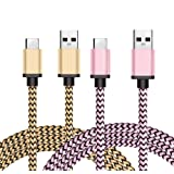 USB 3.1 Type-C Cable, BeneStellar 2-Pack 3ft Reversible Nylon Braided USB C Cable for Samsung Galaxy S8 / S8 Plus, LG G6 / G5, Google Pixel, Google Nexus 6P / 5X, OnePlus 2 / 3, Huawei P9 / P9 Plus and More (3ft, 2-Pack Pink & Gold)