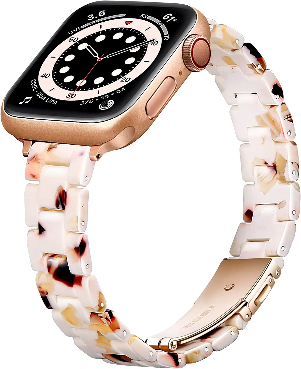 OUHENG Slim Resin Strap Compatible with Apple Watch Bands 40mm 38mm 44mm 42mm, Lightweight Thin Band with Metal Buckle for iWatch SE Series 6/5/4/3/2/1 (Bubbly Nougat White/Rose Gold, 40mm 38mm)