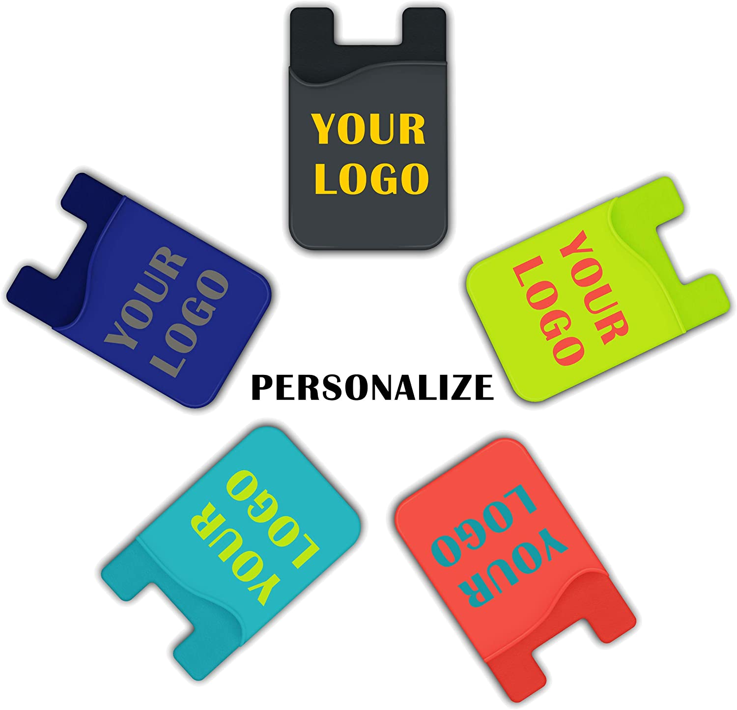 Personalize Cell Phone Wallet,5 Pieces Customize Your Logo on Silicone Credit Card ID Holder with Adhesive Stick-on Back (MOQ 100 Pieces)