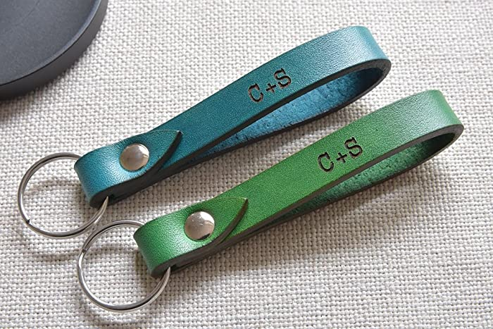 Amazon.com  Blue keychain - personalized key fob - keyring for her ... f1fa216408