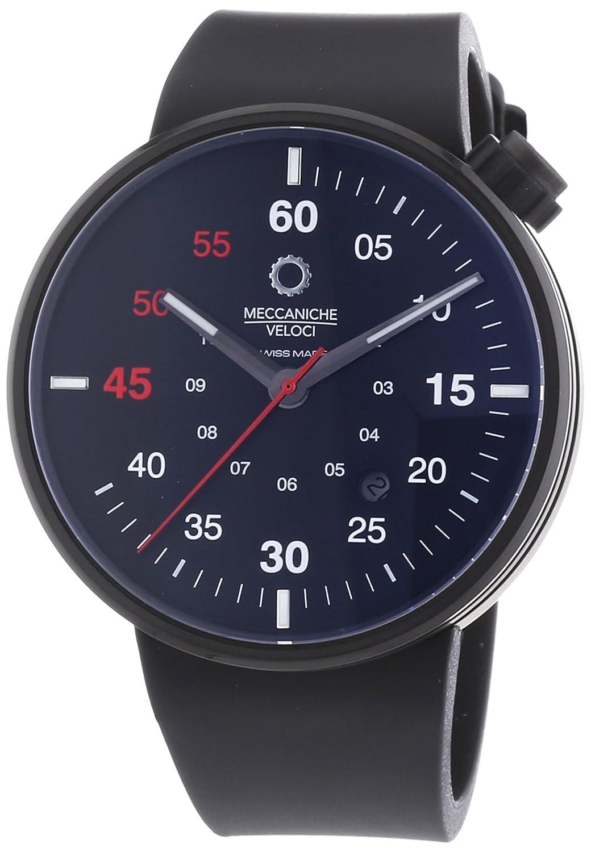 MECCANICHE VELOCI Quattro Valvole 3 Hand Herren Automatik Uhr mit schwarzem Zifferblatt Analog-Anzeige und schwarz
