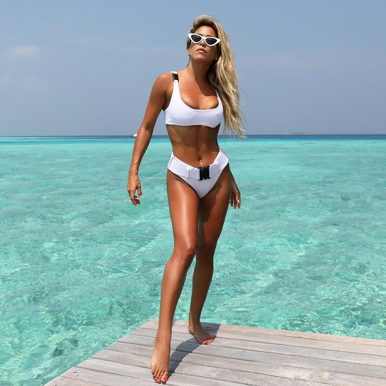Amazon.com: Women Molle Buckle Brazilian Thong Bikinis Swimsuit ...