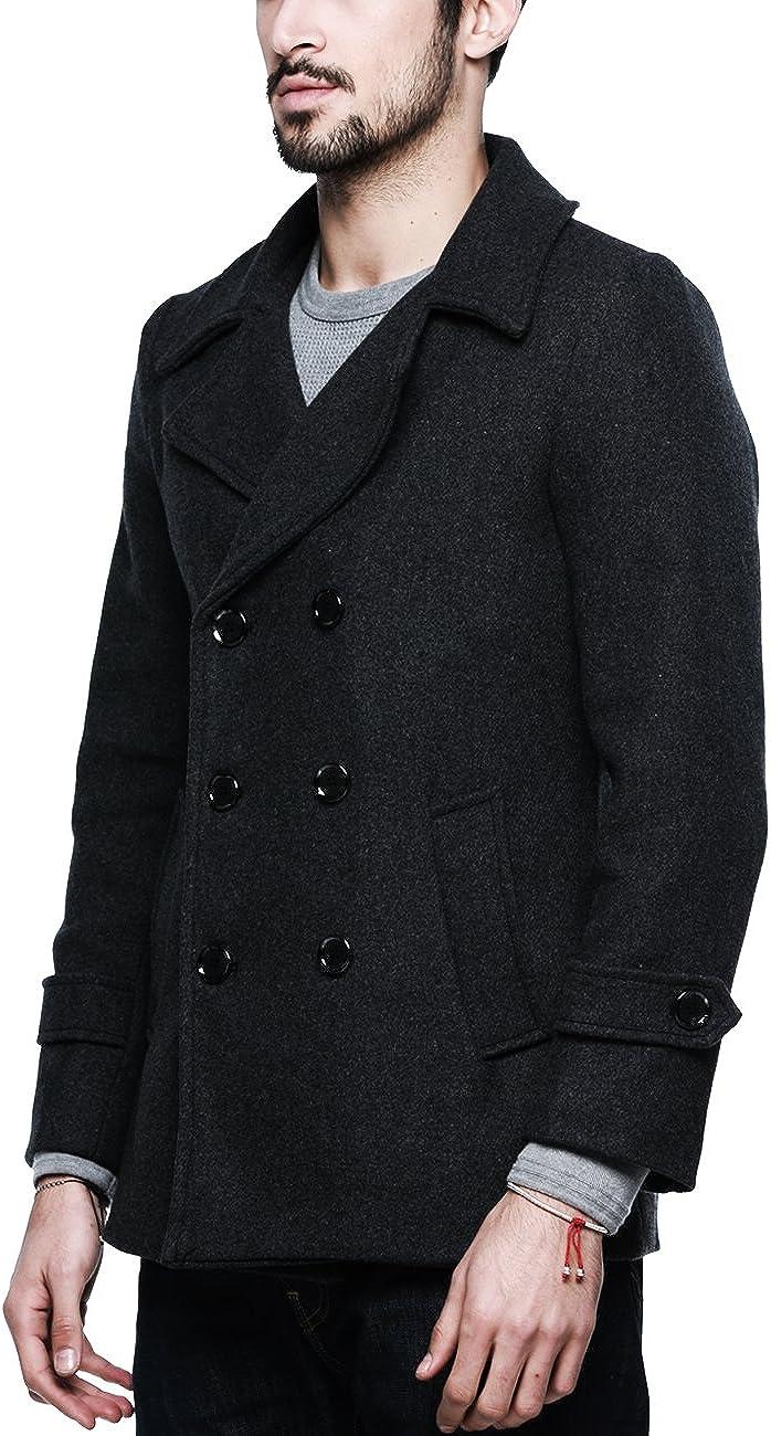 Match Mens Wool Classic Pea Coat Winter Coat