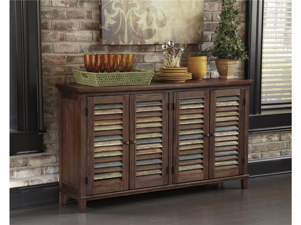 Amazon.com   Ashley Furniture Signature Design   Mestler Dining Room Server    2 Cabinet Serving Table   Dark Brown   Buffets U0026 Sideboards