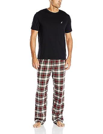 3dc26f26945 Amazon.com  Nautica Men s Pajama Set with T-Shirt and Plaid Pant ...