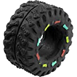 SODIAL(R) Black Vinyl Rubber Tire Tyre Shaped Bone Pattern Squeaky Dog Cat Pet Toy