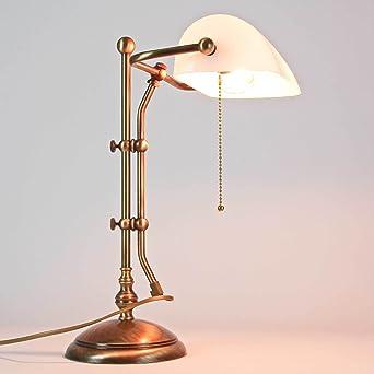 Bankerlampe Tischleuchte Antik Bronze Grün Echt-Messing Zugschalter Schreibtisch