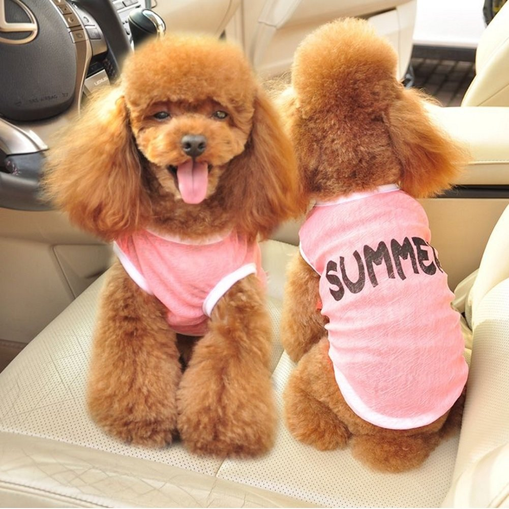 Pink Back Length£o10\ Pink Back Length£o10\ Stock Show Pet Dog Summer Clothes, Pet Vest Spring Summer Printed Breathable Cotton Sleeveless Cute Cool Sunscreen T-Shirt Small Dog Cat Clothes