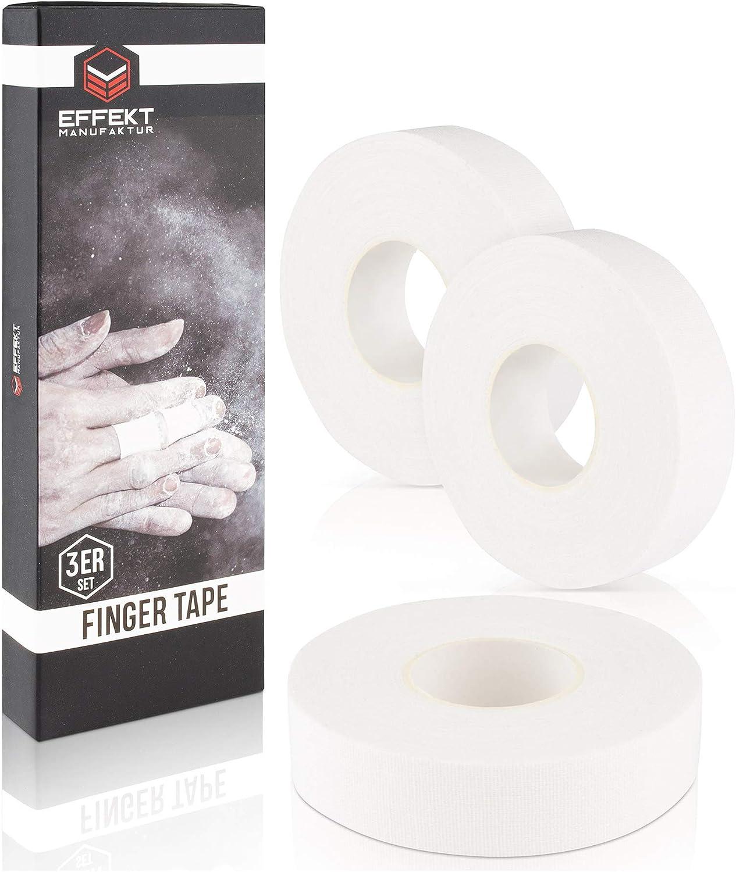 Effekt Manufaktur [Juego de 3 cintas adhesivas para los dedos, color blanco, con adhesivo extrafuerte, 1,5 cm x 11 m, se puede rasgar a mano, incluye ...