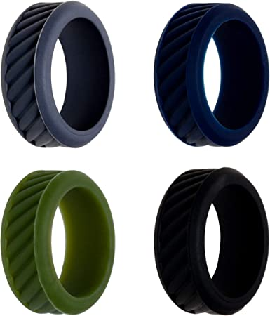 8MM Silicone Rubber Ring Band Size 7-13 Men Women Flexible Sport Workout Jewelry