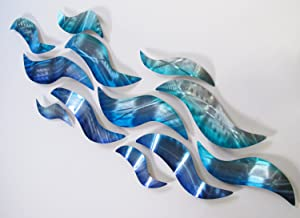 Rip Tide Modern Abstract Large Metal Wall Art Sculpture Metal Panels Blue Silver Painting Decor