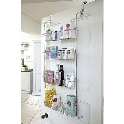 Taylor Brown 4 Tier Chrome Over Door Hanging Kitchen Bathroom