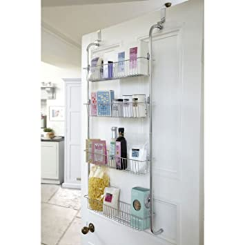 Taylor U0026 Brown® 4 Tier Chrome Over Door Hanging Kitchen Bathroom Storage  Rack Shelves