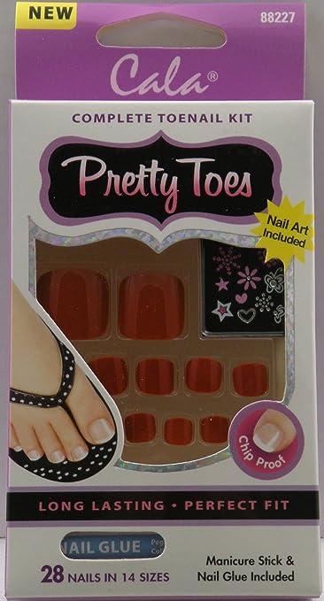 amazon com cala pretty toes red 88227 false nails beauty