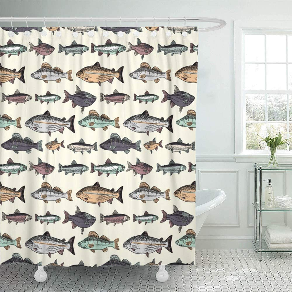 Abaysto Blue Fish with Vintage Fishes Drawing Salmon Trout Fishing Drawn Carp Cartoon Bathroom Decor Shower Curtain Sets with Hooks Polyester Fabric Great Gift