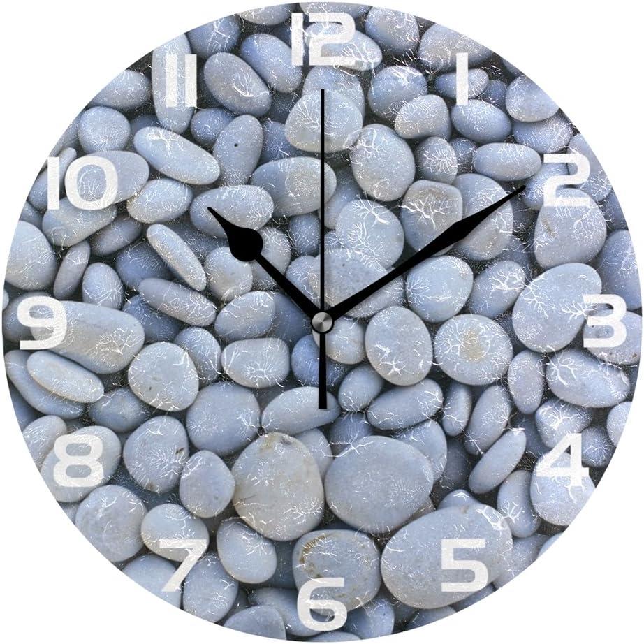 WellLee - Reloj de Pared con Piedras Decorativas Blancas para la Playa, Diseño de guijarros y Piedras, acrílico, no se rasga: Amazon.es: Hogar