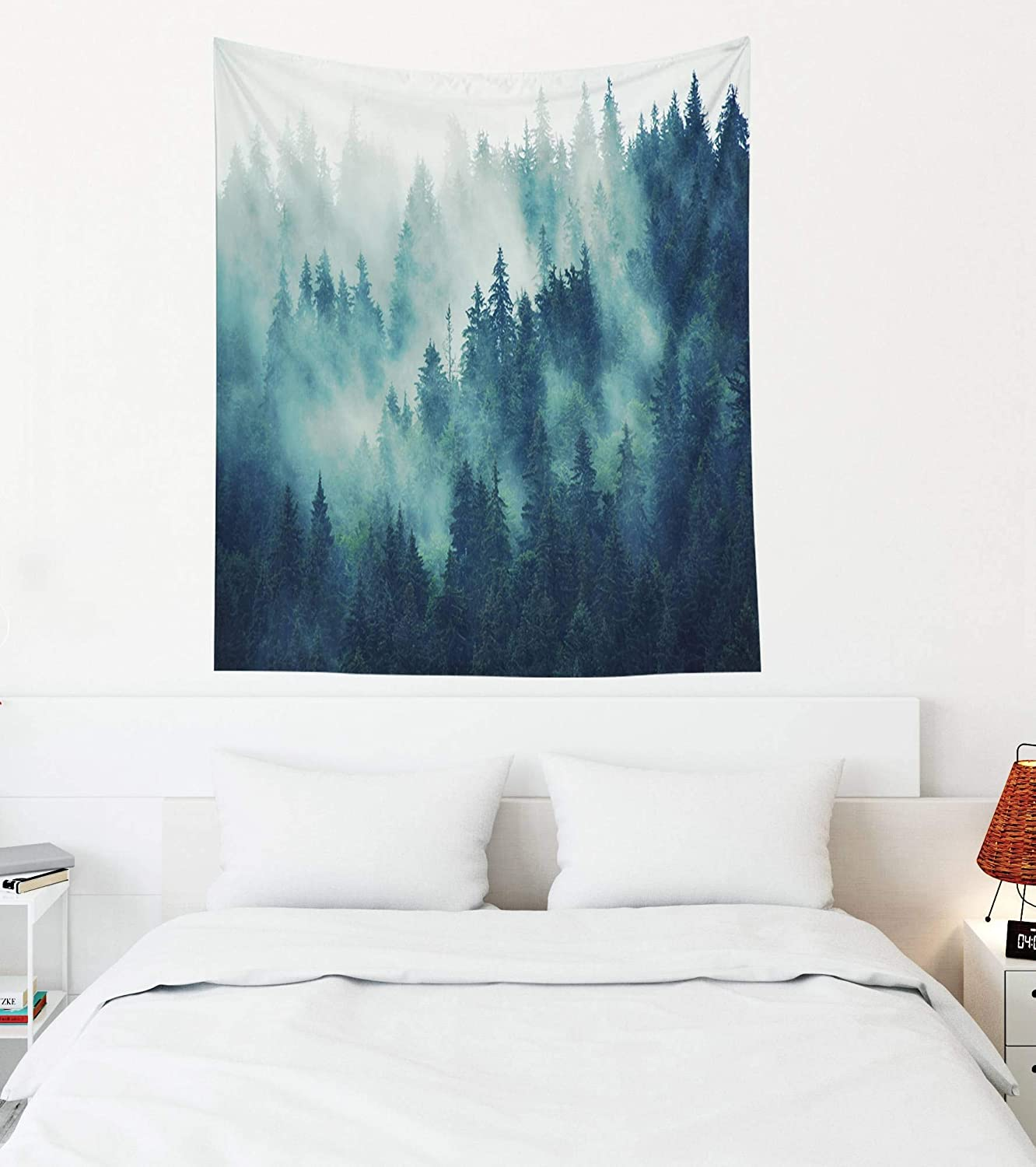 EMMTEEY Thin Tapestry Wall Hanging,Tapestries Décor Living Room Bedroom for Home Inhouse by Printed 50X60 Inches for Landscape with Fir Forest in Hipster Vintage Retro Style