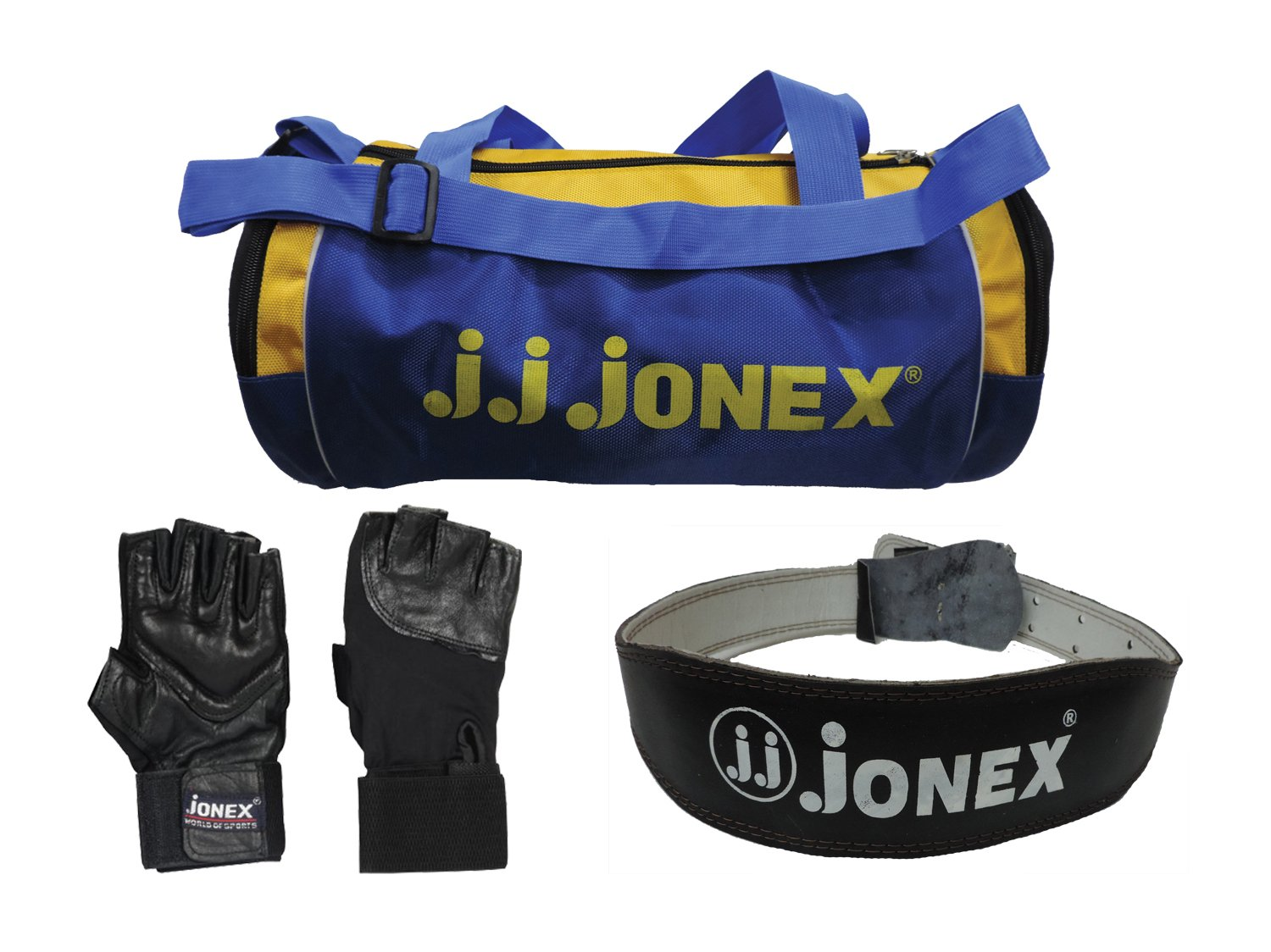 f8b4719fb869 Buy JJ JONEX Combo Leather Weight Belt with Gym Bag and Gloves (Blue and  Black) Online at Low Prices in India - Amazon.in