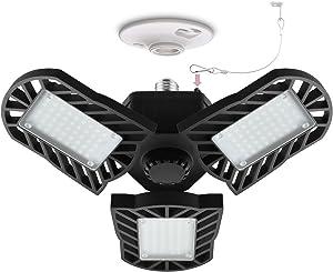 LED Garage Light E26 Screw Base,Hansang 60W Deformable LED Lamp 6000K Daylight 6000LM LED Shop Light,Adjustable Aluminum Panels 360 Degree for Shop,Barn,Warehouse (NO MotionActivated)