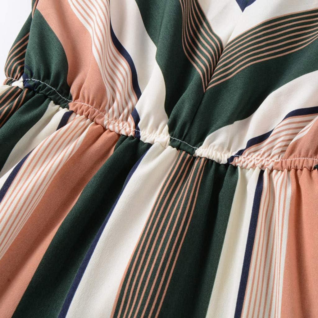 Pandaie-Womens Dresses Women Daily Casual Chiffon Stripe Print V Neck Loose Long Sleeve Mini Dress