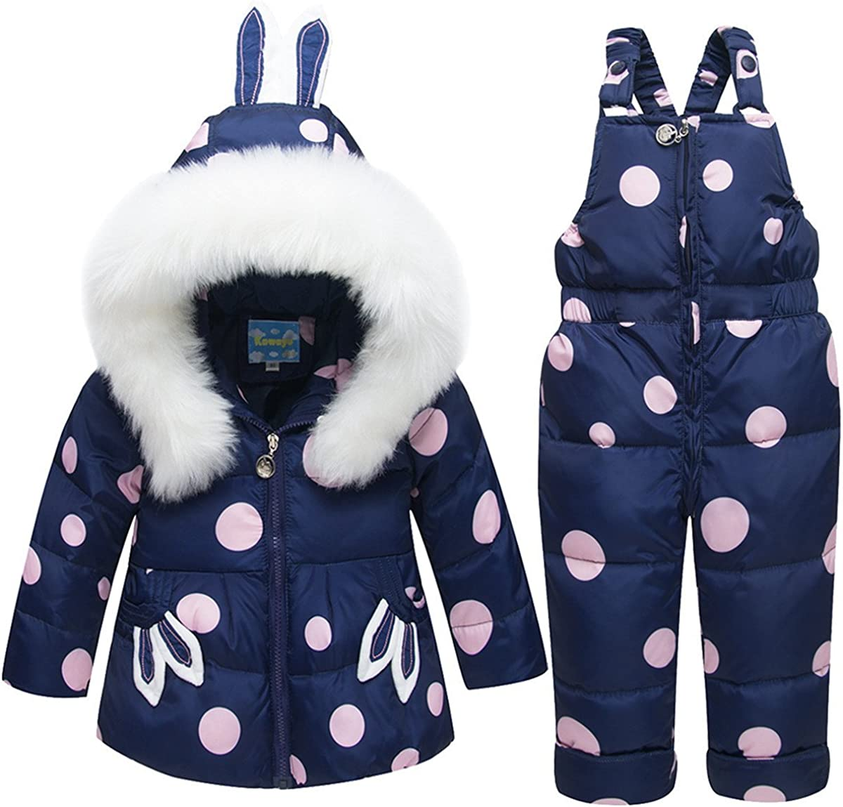 JELEUON Baby Girls Two Piece Polka Dots Puffer Down Hooded Ears Fur Trim Snowsuit Jacket with Snow Ski Bib Pants