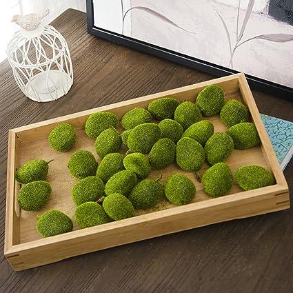 Amazon Green Artificial Flocking Moss Balls Decorative Faux