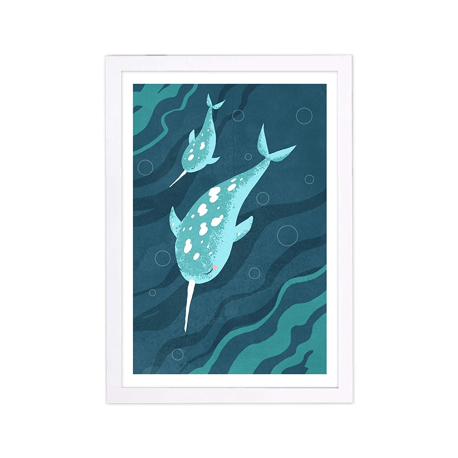 "Wynwood Studio Animals Framed Wall Art Prints 'Narwhals' Home Décor, 13"" x 19"", Blue, White"