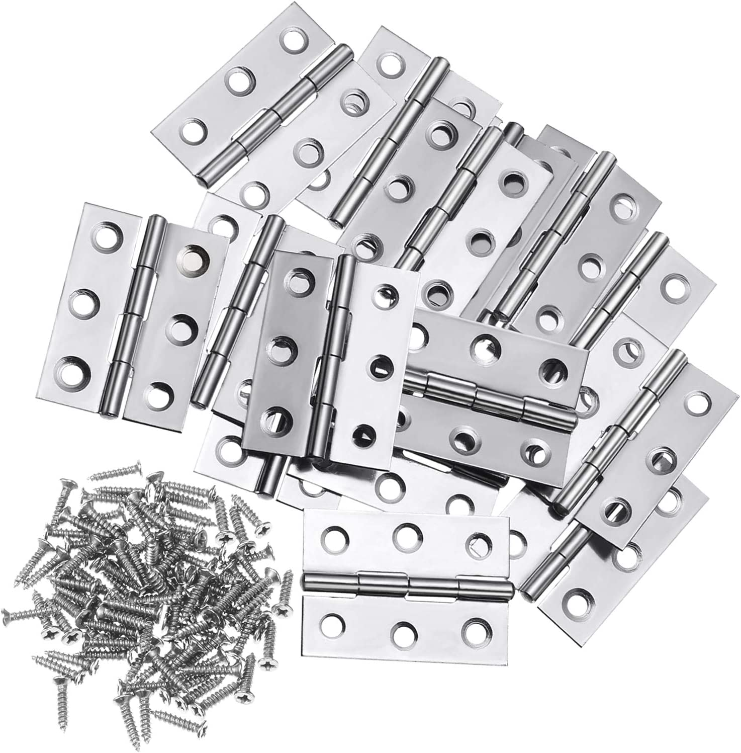 Boao 16 Pieces Stainless Steel Folding Butt Hinges Home Furniture Hardware Door Hinge with 96 Pieces Stainless Steel Screws (2 Inch, Silver)
