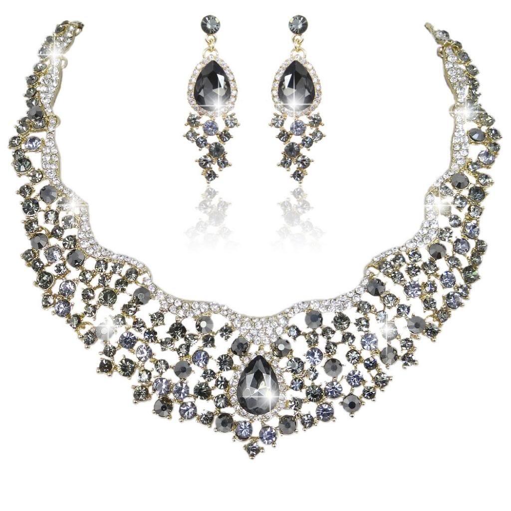 Ever Faith Flower Cluster Teardrop Austrian Crystal Necklace Earrings Set A06912-18