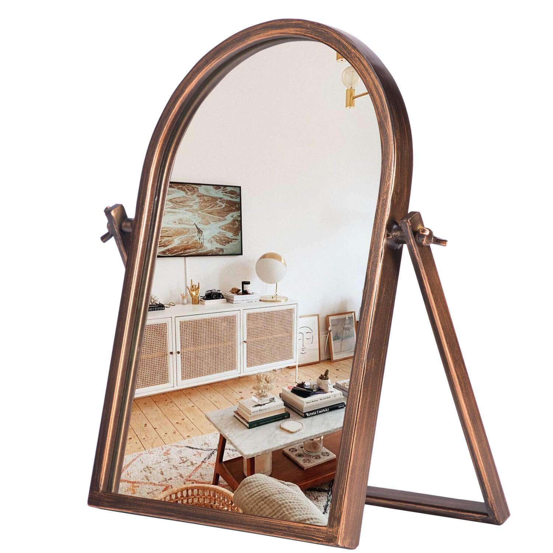 "Geloo Vintage Makeup Desk Mirror-Vanity Tabletop Mirrors 360° Adjustable Rotation,Bronze Metal Framed 10"" Small Standing Mirror for Boho Decor, Bedroom,Bathroom Counter,Dresser,Antique"