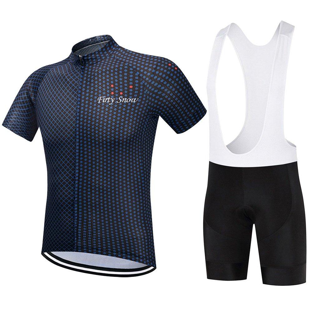 Firty Snownn Herren kurzen Ärmeln Radtrikot mit Bib Shorts Bike Kleidung Anzüge