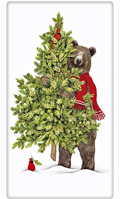Amazon.com: Christmas Tree Black Bear 100% Cotton Flour Sack Dish ...