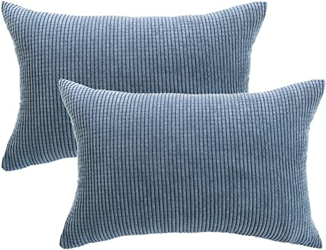 piccocasa pack of 2 decorative pillowcase covers with zipper fall super soft corduroy striped throw pillow case cushion cover sets for sofa couch bed