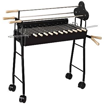 Outsunny® Barbacoa de Carbón 2 en 1 Picnic Parrillas Asador BBQ Multifuncional 36x85x90cm Patio Acampada Parilla de Carbón Vegetal con Ruedas