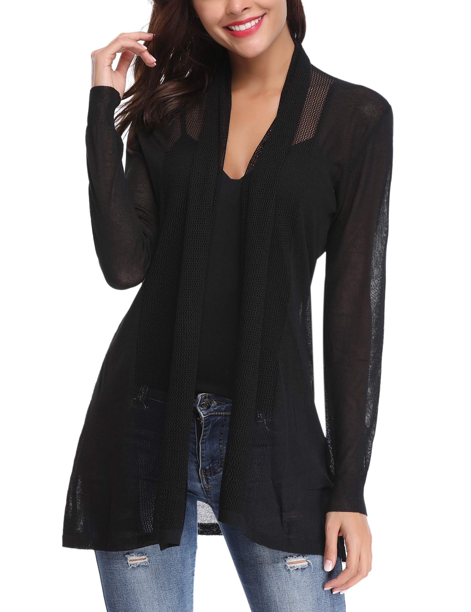 Abollria Womens Casual Long Sleeve Open Front Cardigan Sweater(Black,M)