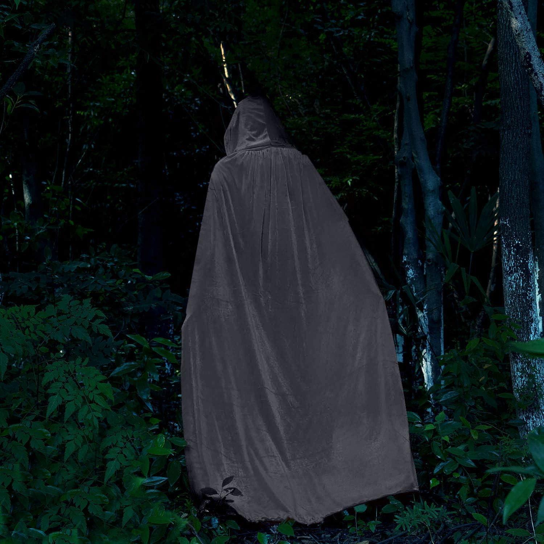 HBselect Halloween Umhang Vampir Kost/üm Vampirumhang mit Kapuze f/ür Erwachsene damen herren schwarz rot wei/ß lila aus Samt dopelseitig