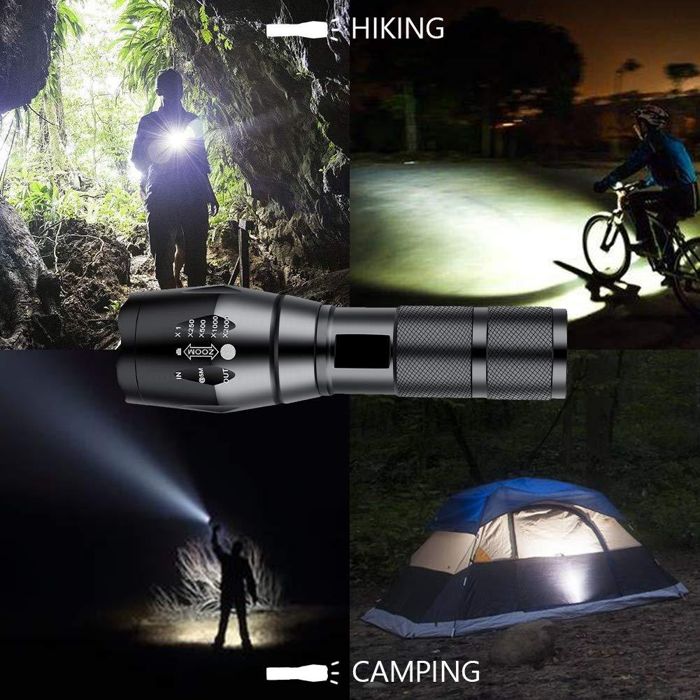 no incluidas alimentada por 1 bater/ía 26650 o 3/pilas AA para linterna Linterna Cree XM-L T6 1200/l/úmenes LED de alta resoluci/ón y ajustable con tubo de color blanco